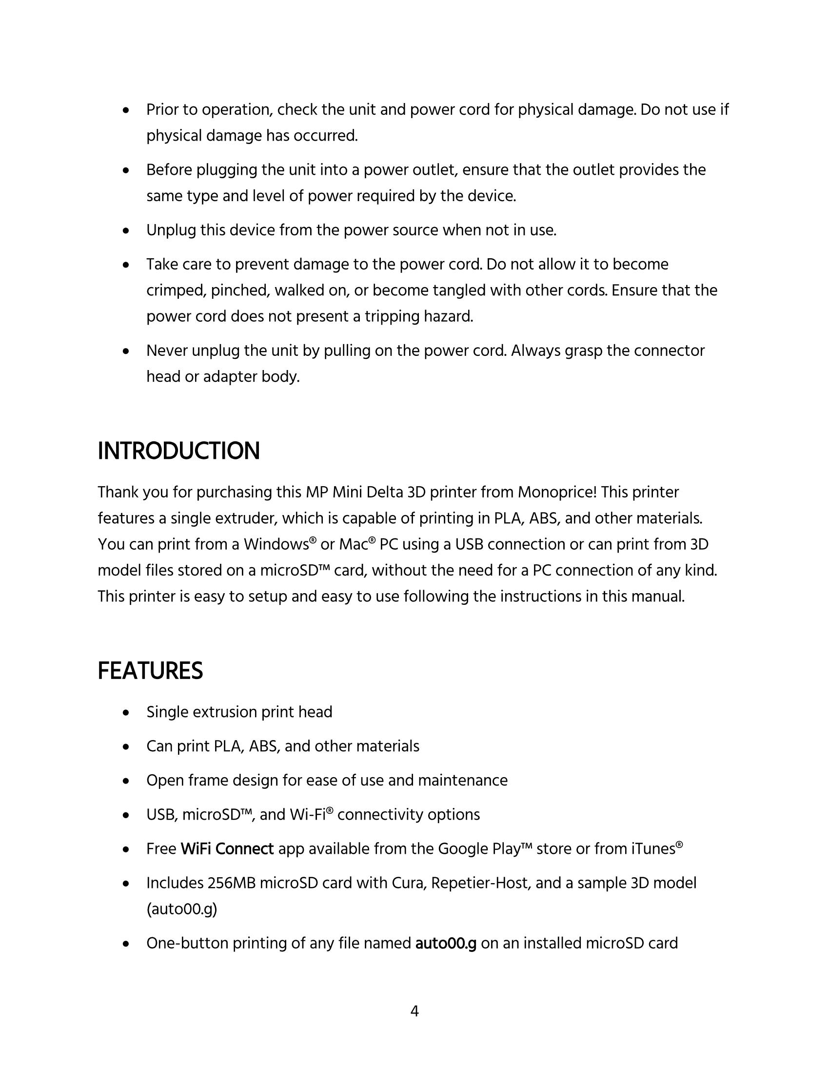 MP Mini Delta User's Manual - Page 4